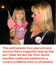 Four-year-old waves a mean campaign flag